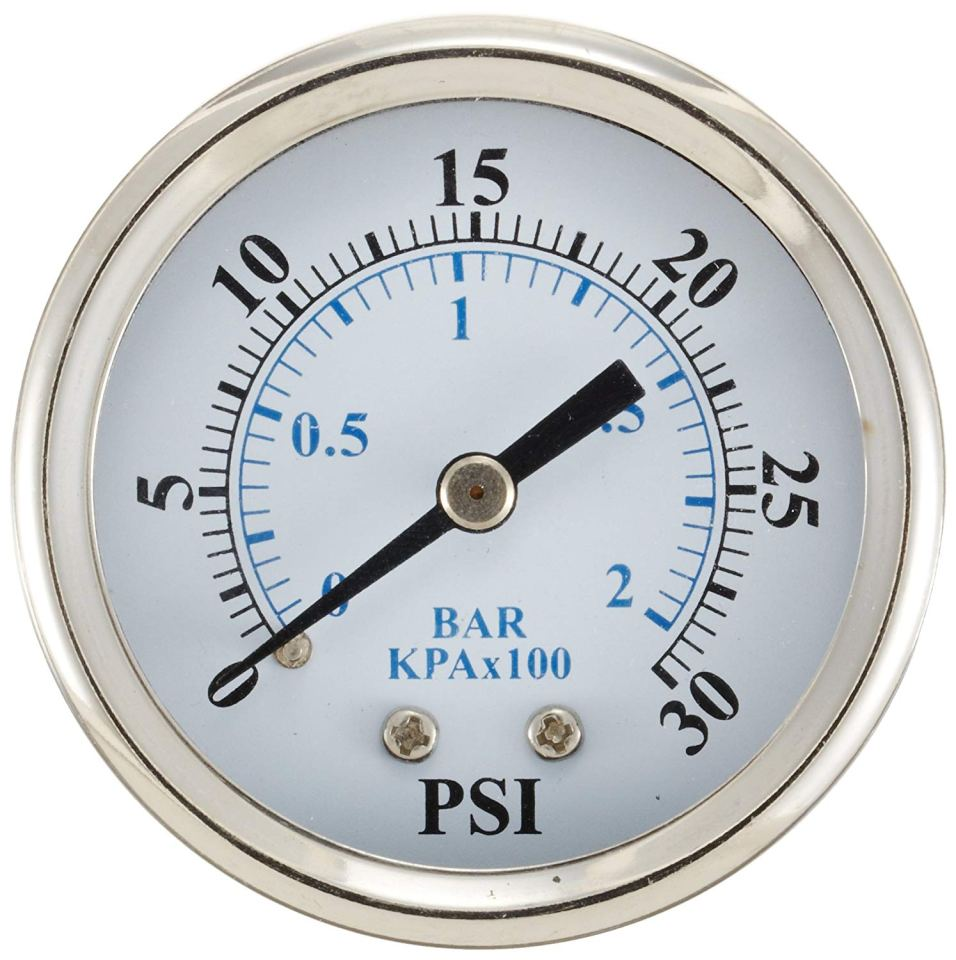 "PIC Gauge 102D-154F 1.5"" Dial, 0/160 psi Range, 1/4"" Male NPT Connection Size, Center Back Mount Dry Pressure Gauge with a Black Steel Case, Brass Internals, Chrome Bezel, and Plastic Lens"