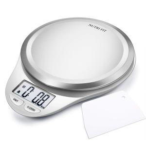 NUTRI FIT Multifunction Food Scale for Baking Kitchen Cooking,Tare & Auto Off Function,Digital Kitchen Scale with Dough Scraper (Elegant White)