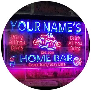 """AdvpPro 2C Personalized Your Name Custom Home Bar Beer Established Year Dual Color LED Neon Sign Red & Blue 12"""" x 8.5"""" st6s32-p1-tm-rb"""