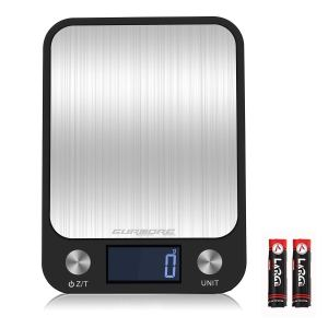 GURMORE Digital Kitchen Scale, Food Weight Scale for Baking and Cooking, Digital Gram Accurate Scale with Multifunction, Measuring Scale with Large LCD Lighted LCD Display and 9 Weight Units