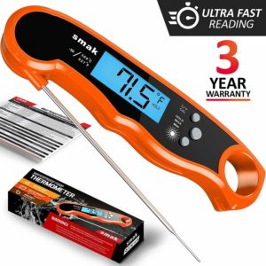 Digital Instant Read Meat Thermometer - Waterproof Kitchen Food Cooking Thermometer with Backlight LCD - Best Super Fast Electric Meat Thermometer Probe for BBQ Grilling Smoker Baking Turkey (Orange)