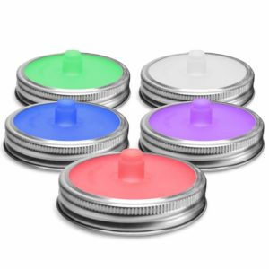 Set of 5 Wide Mouth Mason Jar Fermenting Lids for Ball Mason Jar, 5pcs Food-Grade Silicone Airlock Fermentation Lids and 5pcs Stainless Steel Bands for Sauerkraut, Kimchi, Pickles