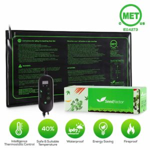 """Seedfactor MET certified Seedling Heat Mat with 50℉~108℉ Digital Thermostat Controller for Seed Germination (10"""" x 20"""")"""