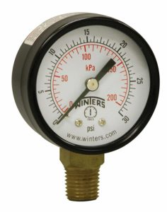 "Winters PEM Series Steel Dual Scale Economical All Purpose Pressure Gauge with Brass Internals, 0-30 psi/kpa, 2"" Dial Display, +/-3-2-3% Accuracy, 1/4"" NPT Bottom Mount"
