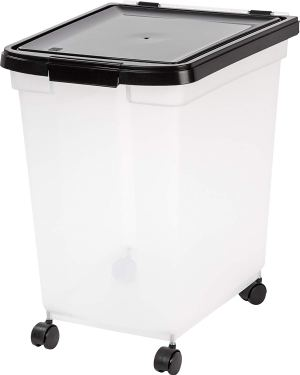 IRIS Airtight Pet Food Container, 50-Pound, Clear/Black