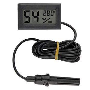 Semoic Mini LCD Digital Thermometer Hygrometer Temperature Indoor Convenient Temperature Sensor Humidity Meter Gauge Instruments Cable, Black