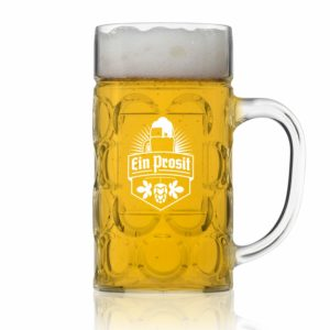 Unbreakable .5L Oktoberfest German Beer Mug with Handle (22 oz.) Classic German Stein with Dimpled Finish - Vintage Party Brew Tankard- Lightweight Styrene- Made in USA