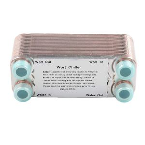 "Ferroday 30 Plate Wort Chiller Stainless Steel Brazed Plate Heat Exchanger 3/4 NPT Thread Plate Chiller(7.5"" x 3.15"")"