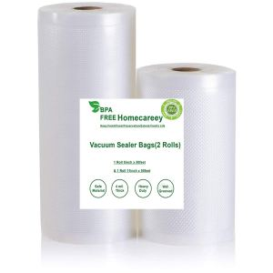 Health-Made Vacuum Sealer Bags for FoodSaver,Other Vac Machine and Sous Vide,11'' x 50' and 8'' x 50' Commercial Grade,4mil Embossed BPA-Free FDA Approved Vacuum Sealer Rolls