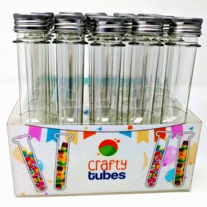 Crafty Tubes 25 Ultra Long Clear PET Plastic Test Tube Tubes Set with Thin Rack Holder, Wire Brush,Caps & 32 Labels|25mm x 178mm (60ml) - Candy, Bath Salt Containers & Craft Storage, Wedding Favours