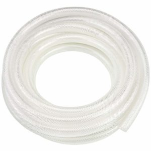 "1/4"" ID x 25 Ft High Pressure Braided Clear PVC Vinyl Tubing Flexible Vinyl Tube, Heavy Duty Reinforced Vinyl Hose Tubing, BPA Free and Non Toxic"