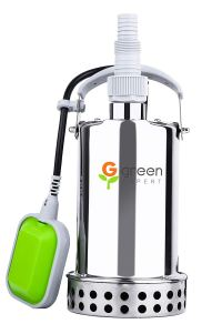 Green Expert 203625 2/3HP Submersible Stainless Steel Sump Pump Top Discharge Max 2906GPH Flow for Quickly Water Removal Pond Water Transfer with Float Switch for Automatic Dewatering Application