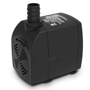 Submersible Water Pump UL Listed with Adjustable Flow for Pond, Aquarium, Pet Fountain, Waterfalls, Hydroponics with 3.1' High Lift, 6.1'Cord, 2 Nozzles