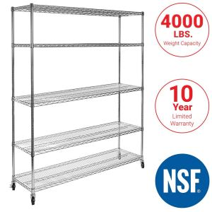 """Seville Classics UltraDurable Commercial-Grade 5-Tier NSF-Certified Steel Wire Shelving with Wheels, 60"""" W x 18"""" D x 72"""" H, Chrome"""
