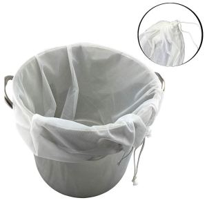 Reusable Drawstring Brew in A Bag Straining Wine Hot -26inch X 22inch (White)