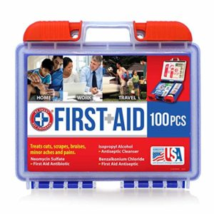 Be Smart Get Prepared 100 Piece First Aid Kit, Clean, Treat and Protect Most Injuries with The kit That is Great for Any Home, Office, Vehicle, Camping and Sports