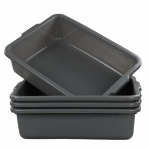 Eagrye 4-Pack Bus Tubs, Commercial Tote Box, Plastic Bus Box (13 L Capacity), Grey