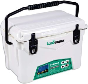 Landworks Rotomolded ENHANCED Ice Cooler 20QT Up to 10 Day Ice Retention Commercial Grade Food Safe Dry Ice Compatible UV Protection 15mm Gasket Bottle Openers Vacuum Release Valve Lo Profile Latches