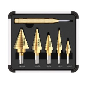Tacklife PDH06A Classic Titanium Step Drill Bit Set & Automatic Center Punch,High Speed Steel  5-Piece Set  Total 50 Sizes,Double Cutting Blades Design with Aluminum Case