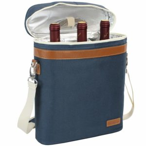 3 Bottle Insulated Wine Tote Cooler Bag, Portable Wine Carrier with Corkscrew Opener and Shoulder Strap for Beach Travel Picnic