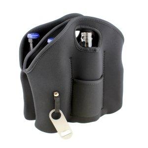 G Francis 6 Pack Cooler Tote Beer Holder with Beer Bottle Opener Keychain - Neoprene Water Bottle Carrier, Beer Bottle Cooler Bag