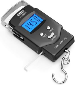 [Backlit LCD Display] Dr.meter PS01 110lb/50kg Electronic Balance Digital Fishing Postal Hanging Hook Scale with Measuring Tape, 2 AAA Batteries Included