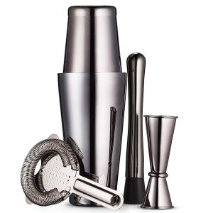 Mitbak Black Boston Cocktail Shaker Set |304 Stainless Steel Bartender Set | Look Like A Pro With Boston Cocktail Shaker Bottle, Strainer, Jigger, Muddler