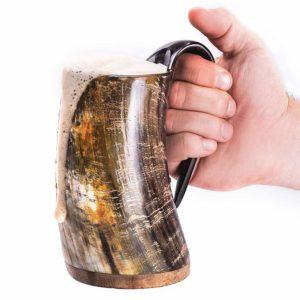 "Norse Tradesman Original Viking Drinking Horn Mug - 100% Authentic Beer Horn Tankard w/Natural Surface & Burlap Gift Sack |""The Original"", Unpolished, Large"