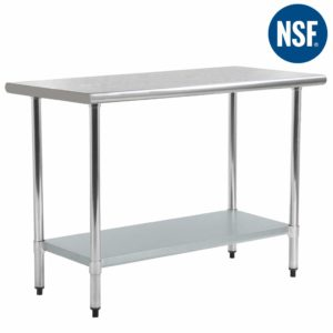 Kitchen Work Table Stainless Steel Metal Commercial NSF Scratch Resistent And Antirust Work Table With Adjustable Table Toot,24 X 48 Inches