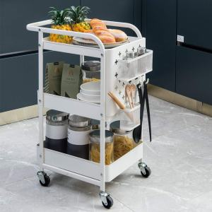 MICOE 3-Tier Metal Storage Rolling Cart with Utility Handle and Extra Storage Accessories H-T3001W Creamy-White