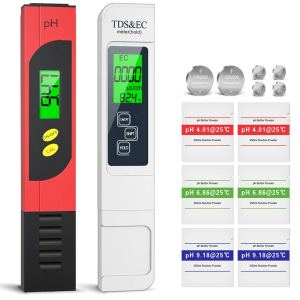 ZOTO PH Meter, TDS Meter, EC and Temperature Meter 4 in 1 Set with LCD Display, Conductivity Meter with High Accuracy, ATC Water Quality Tester for Drinking Water, Pool, Aquarium, Laboratory