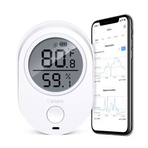 Govee Temperature Humidity Monitor, Indoor Bluetooth Thermometer Hygrometer Gauge, Wireless Temp Humidity Sensor with Alert, Data Export Thermometer Humidity for Home Garage Cigar Humidor Greenhouse