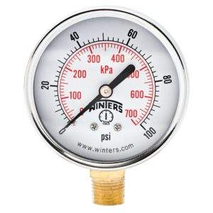 "Winters PEM Series Steel Dual Scale Economical All Purpose Pressure Gauge with Brass Internals, 0-100 psi/kpa, 2-1/2"" Dial Display, +/-3-2-3% Accuracy, 1/4"" NPT Bottom Mount"