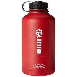 45 Degree Latitude Beer Growler, Enjoy Your Favorite Craft Beer Or IPA from The Comfort of Your Own Home, Stainless Steel Growler 64 oz - Red