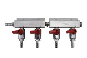 "4-way CO2 Distributor Manifold with 3/8"" barbs for CO2 Regulator Beer Kegs"