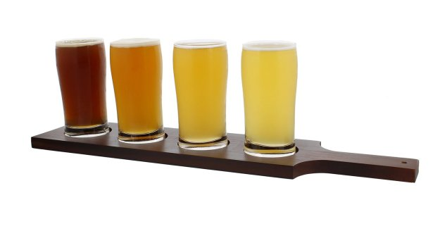Beer Flight Set with (1) Wooden Flight Paddle and (4) 5oz Ounce Glasses – Sampler Kit for Beer Tasting
