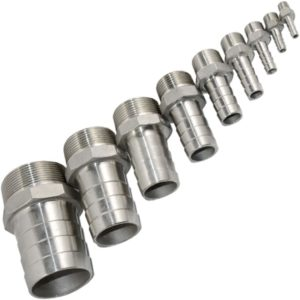"""SuperWhole 1/2"""" Male Thread Pipe Fitting x12mm Barb Hose Tail Connector Stainless Steel NPT"""