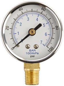 "PIC Gauge 101D-204E 2"" Dial, 0/100 psi Range, 1/4"" Male NPT Connection Size, Bottom Mount Dry Pressure Gauge with a Black Steel Case, Brass Internals, Chrome Bezel, and Plastic Lens"