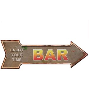 HANTAJANSS Bar Signs Retro Arrow Embossed Metal Signs for Wall Decoration