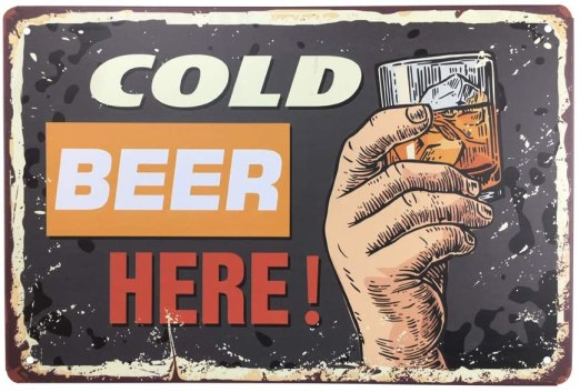 "Vintage Style Tin Sign - COLD BEER HERE! - Bar Pub Garage Diner Cafe Home Wall Decor Art Tin Signs Vintage, 8""W x 12""H"