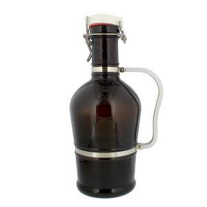 Amber Glass Growler – 2 Liter (Half Gallon / 64 oz) Beer Jug with Swing Lid