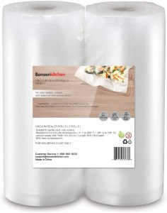 "Bonsenkitchen Food Saver Bags Rolls, 2 Pack 8"" x 50' Sous Vide Cooking Bags (Total 100 feet), BPA Free 8 Inch Customized Size Food Vacuum Sealer Bags"