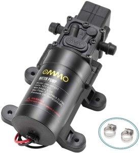 OMMO 12V DC Fresh Water Pump, Diaphragm Pump with 2 Hose Clamps, 60W Self Priming Sprayer Pump with Pressure Switch 4.5 L/Min 1.2 GPM 85 PSI for Caravan, RV, Boat, Marine