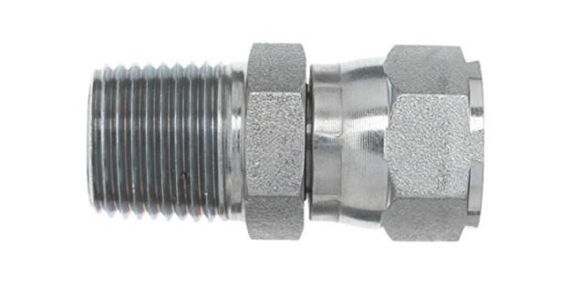 "Brennan Industries 6505-04-04 Steel Straight Tube Fitting, 1/4""-18 NPTF x 7/16""-20 SAE Thread, 1/4"" Male NPTF x 1/4"" Female JIC Swivel"