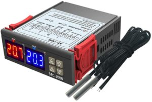 AC Temperature Controller, Aideepen Digital STC-3008 AC 110-220V Dual Display Thermostat Temperature Controller with Dual Probes