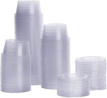 [100 Sets - 2 oz.] Plastic Portion Cups With Lids, Souffle Cups, Jello Shot Cups