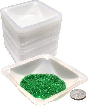 Pure Ponta Weigh Boats Medium   125 Pack 100ml Weighing Boats Measuring & Mixing Powders & Liquids with Easy Pour Design   (3.5 x 3.5 x 1 in) Disposable Plastic Square Lab Dish Scale Tray