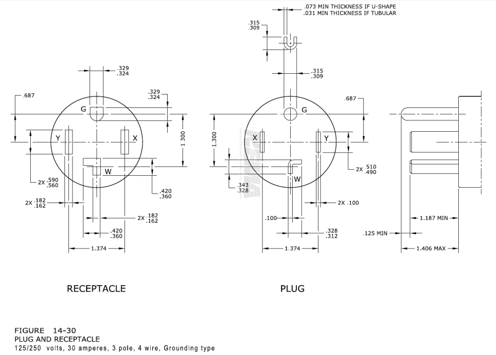 medium resolution of  the white wire connects to the w terminal in the 14 30 plug but is not connected in the l 6 30 or 11 30 receptacle the unconnected end should be