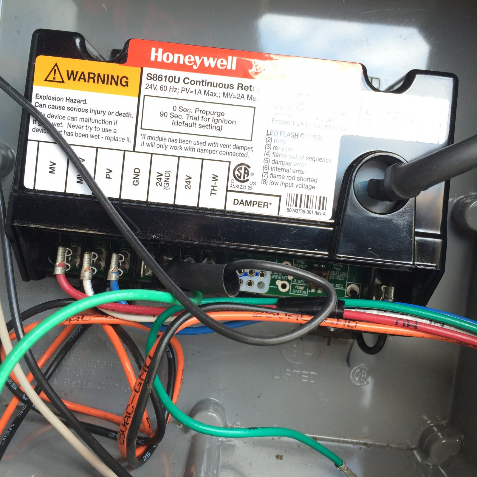 Help Wiring Honeywell Y8610u Gas Control Valve And Pilot Burner Home