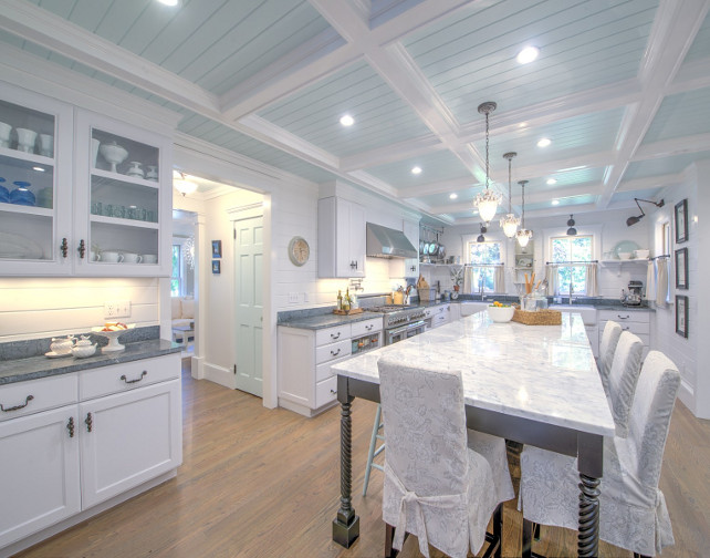 Shingle Cape Cod Home with Blue Kitchen Ceiling  Home Bunch Interior Design Ideas